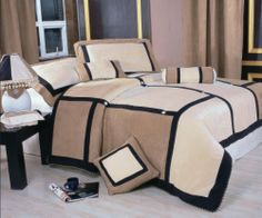 Microfiber 7-piece Luxury Beige with Black Striped Comforter Set bed-in-a-bag King Size by Ameridepot. $69.99. Microfiber. Microsuede. 7-piece. o Merridia bedding set revitalizes your bedroom decor  o Seven-piece microsuede comforter Set keeps you warm and cozy through cold nights  o Comforter Set features a comforter, two shams, bedskirt, pillow, breakfast pillow and neckroll  o Comforter top: 100-percent polyester  o Comforter back: 50-percent cotton/50-percent poly...
