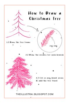 Click through to the post for detailed instructions on how to draw a Christmas tree in 3 easy steps!