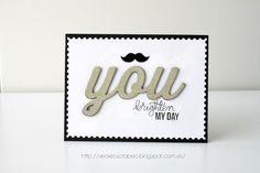 Card. Cardmaking. Tarjeta. Tarjetería. You. SimonSaysStamp. Mama Elephant die. Moustache. Valentine card. San Valentin. Glitter