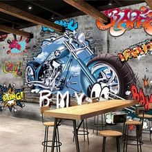 Personalizado papel de parede minimalista retro motocicleta rua graffiti art pintura decorativa papel de parede pano de fundo papel de parede 3D imagens(China (Mainland))