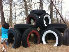 Tire Tower - part of our wonderful playground! We're so blessed to have