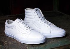 All White Sk8-Hi and Old Skool