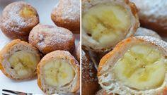Smažené banány v skořicovém těstíčku Eastern European Recipes, Something Sweet, Pretzel Bites, Sweet Recipes, Deserts, Muffin, Food And Drink, Bread, Fruit