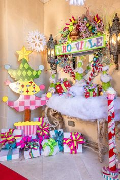 Who doesn't love a Who-Ville themed Christmas? It's colorful, merry and bright at Turtle Creek Lane! Gingerbread Christmas Decor, Candy Land Christmas, Grinch Christmas Decorations, Grinch Christmas Party, Whimsical Christmas, Pink Christmas, Outdoor Christmas, Christmas Themes, Christmas Sled