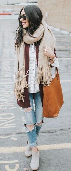 #winter #fashion /  Cream Frindge Scarf + Striped Shirt + Camel Cardigan
