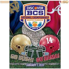 "Alabama Crimson Tide vs. Notre Dame Fighting Irish 2013 BCS National Championship Game Dueling 27"" x 37"" Vertical Banner"