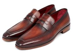 Penny loafer men's slip-on shoes Bordeaux and brown hand painted calfskin leather upper Antique finished leather sole Bordeaux leather lining and inner sole Thi Mens Brown Loafers, Loafers Men, Lauren Murphy, Men's Shoes, Dress Shoes, Flat Shoes, Mens Slip On Shoes, Brown Shoe, Penny Loafers
