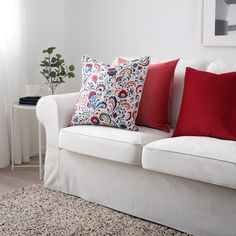IKEA - KRATTEN, Cushion cover, white, multicolour, Cotton is a soft and easy-care natural material that you can machine wash. The zipper makes the cover easy to remove. Sofa Pillows, Cushions, Throw Pillows, Cushion Covers, Throw Pillow Covers, Reading Nook, Outdoor Sofa, Bunt