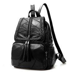 Cheap Leisure Black Leather School Bag Large Weave Tassel Women's College Backpack For Big Sale!Leisure Black Leather School Bag Large Weave Tassel Women's College Backpack