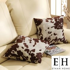 @Overstock - If you love modern-country decor, this printed throw pillow is for you. Featuring a cowhide print, these pillows measure eighteen inches square. The hidden zipper closure allows the cover to be removed for spot cleaning. Pillow is 100 percent polyester.http://www.overstock.com/Home-Garden/D-cor-Cow-Hide-Print-Pillow-Set-of-2/6982317/product.html?CID=214117 $48.99