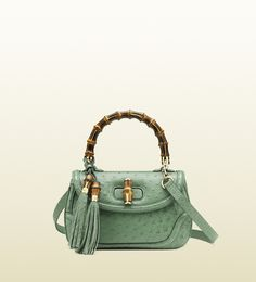 Gucci New Bamboo Ostrich Top Handle Bag in Green (bamboo)   Lyst