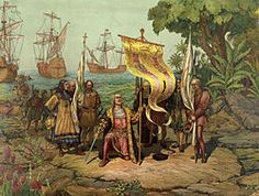 República Dominicana - Cristóbal Colón tomando posesión de La Española al momento de su llegada en 1492.