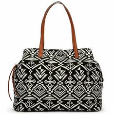 Fun black and white printed satchel for spring!