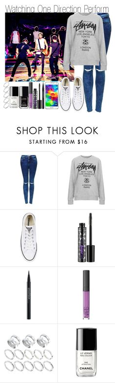 """Watching One Direction Perform"" by elise-22 ❤ liked on Polyvore featuring Topshop, Stussy, Converse, Samsung, Urban Decay, Smashbox, NARS Cosmetics, ASOS and Chanel"