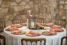 White Linen, Champagne Runner, Blush Napkins P. Wood Stumps, Gold Lanterns, Gold Chargers, White Vases, Twinkle Lights, Candlestick Holders, Glass Table, Wedding Styles, Rustic Wedding