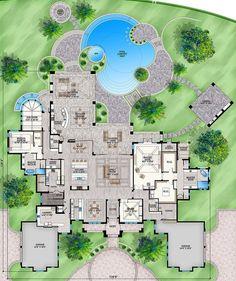 Hotel Floor Plan, Luxury Floor Plans, Luxury House Plans, Best House Plans, Dream House Plans, House Floor Plans, Design Hotel, Home Design, 6 Bedroom House Plans