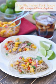 Healthy Pulled Pork Tacos with Mango Salsa and Quinoa | @Mindy CREATIVE JUICE | @getcreativejuice.com