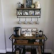 50 DIY Coffee Bar Ideas inside the Home for Coffee Enthusiast – Couchtisch Coffee Bars In Kitchen, Coffee Bar Home, Home Coffee Stations, Coffe Bar, Kitchen Bars, Kitchen Cupboard, Coffee Shops, Kitchen Cabinets, Coffee Bar Design