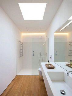Stunning Small Modern Bathroom Decor Ideas With Natural Light bathroom bathroomdecor bathroomideas 837880705654167537 Skylight Bathroom, Bathroom Lighting Design, Bathroom Design Layout, Bathroom Colors, Bathroom Sets, Bathroom Faucets, Small Bathroom, Master Bathroom, Modern Bathroom Cabinets
