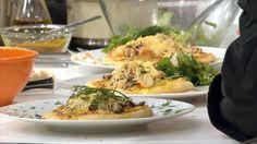 """- Plat / Poisson - Anne vous propose sa """"Pizza aux fruits de mer"""" inspirée de la recette de Delphine Roux """"Fleurs de la mer et nuage de bisquette"""""""
