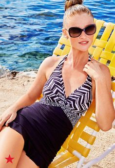 Sit back and relax all summer long in this graphic swimsuit with a silhouette-enhancing design and flared skirt. Click to shop for your perfect bathing suit at Macy's.