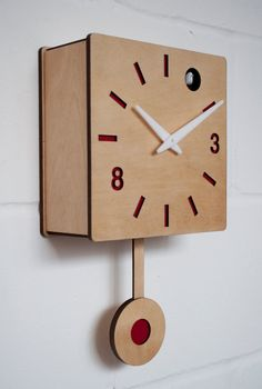 Quadri - Red Birch ply Cuckoo clock with moving bird Red dials