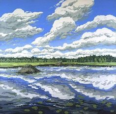 Big Flowage, huile sur toile de Neil Gavin Welliver (1929-2005, United States)