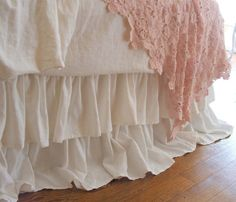 Shabby Chic Bedding Romantic Tiered Ruffle Dust by tickingandtoile, $215.00
