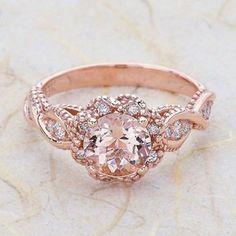 14K Vintage Rose Gold Engagement Ring Center Is A Round Morganite