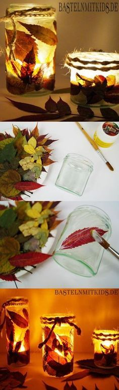Making an autumnal lantern - crafts with children- Ein herbstliches Windlicht basteln – Basteln mit Kindern Super easy to tinker - Easy Fall Crafts, Fall Crafts For Kids, Fall Diy, Diy For Kids, Diy And Crafts, Kids Crafts, Craft Projects, Projects To Try, Simple Crafts