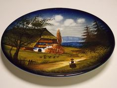 "Made In Germany, 11"" Hand Painted Wall Plate,Collectible Plate,Country Folk Art"
