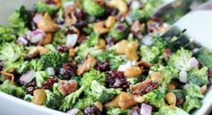 Best broccoli salad ever!!! (at least that I've tried :-) )  Ingredients -4 heads broccoli, cut in bite size pieces -1 red onion, chopped -1/2 pound bacon, cooked and crumbled -3/4 cup raisins or dried cranberries -3/4 cup nuts (I've only used sliced almonds, but I think cashews would be fantastic), -1 c mayo -1/2 c sugar -2 tablespoons white wine vinegar (I've also used basalmic vinegar and rice vinegar)  Directions: mix everything, cool, and serve.