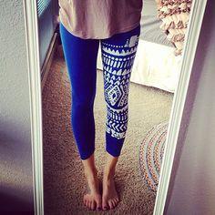 Tribal Print Blue Leggings Sz. Medium by EightyFourKlothing