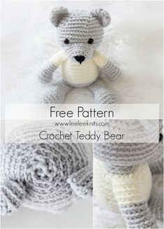 Free -Crochet Teddy Bear Amigurumi Pattern // by Leelee Knits Crochet Teddy Bear Pattern Free, Teddy Bear Patterns Free, Free Pattern, Crochet Teddy Bears, Amigurumi Patterns, Crochet Appliques, Articles Pour Enfants, Crochet Patron, Crochet Free Patterns
