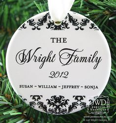 Personalized Family Christmas Ornament Family Christmas Gift Idea Personalized Ceramic Ornament With Family Name Dainty Damask Itemor