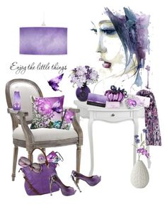 """""""Purple and Butterflies"""" by karlajkitty ❤ liked on Polyvore featuring art"""