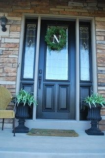 Front Door Makeover. Painting over the worn and weathered stain.