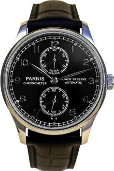 PARNIS Automatik Herrenuhr Modell 2000 mechanische Armbanduhr Lederarmband Edelstahl SeaGull Automatikuhr von LIV MORRIS