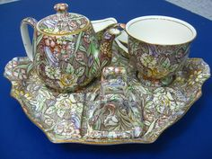 vtg Royal Winton Floral Chintz Offley brown Pattern Breakfast Set