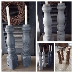 Kandelaars gemaakt van oude tafelpoten.