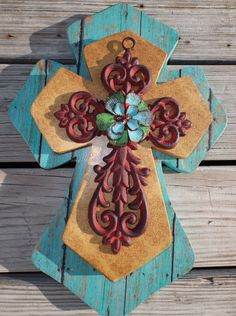 Stacked Wood & Cast Iron Decorative Wall Cross Western Decor Christian Religious