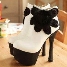 Stiletto Heel Back Zipper White Ankle Booties with Flower | Life Is Short Buy The Damn Shoes