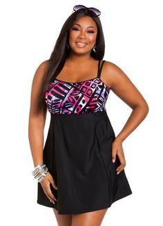 Printed Double Strap Swimdress. Plus size swim coupon codes. #swimwear #plussize
