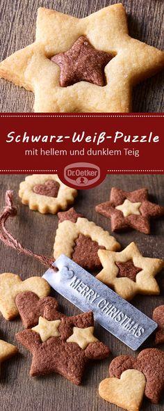 Schwarz-Weiß-Puzzle: Knackige Plätzchen mit hellem und dunklem Teig zu Weihnachten