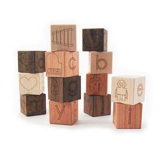 alphabet picture blocks, 13 modern wooden toy letter blocks via Etsy $28