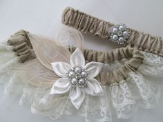 BURLAP Wedding Garter Set Ivory Lace Garters by GibsonGirlGarters, $49.99
