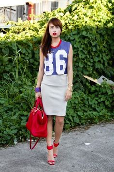 Discover this look wearing Red Fendi Bags, Blue Topshop Tops - It's All About the Bass by Dominiquetiu styled for Sports, Everyday in the Summer Basketball Outfits, Soccer, Topshop Tops, Fendi Bags, Blue Bags, Skirt Fashion, Bass, Numbers, Letters