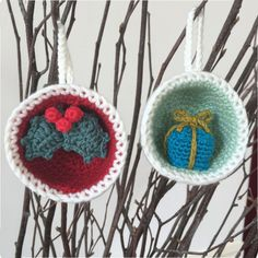 Christmas Bauble Ornaments, Gift & Holly Crochet Pattern