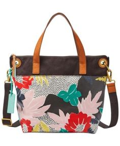 Fossil Keely Large Tote - White/Black