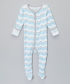 Look at this Blue Zigzag Footie - Infant on #zulily today!